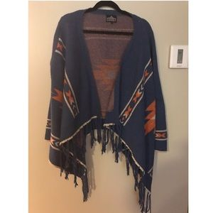 Aztec fringe open cardigan